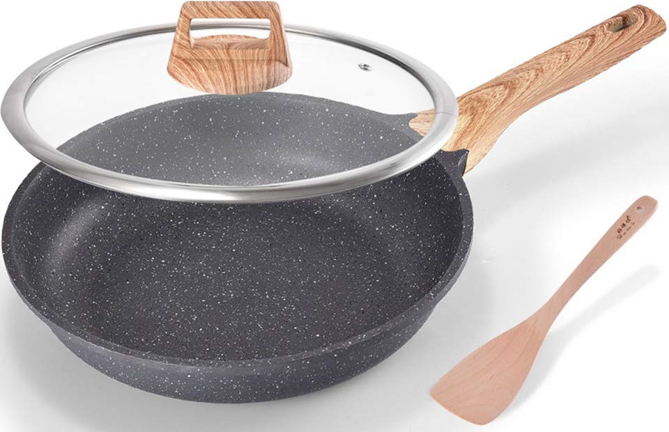 ZHESHEN Forged Aluminium Non Stick Frying Pan,Stone, Greyshovel,28cmWithLid