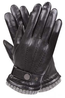 Men's Texting Leather Driving Gloves