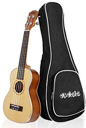 Mugig Concert Ukulele 23 Inches 4 Strings Spruce Top Panel Rosewood Fretboard Silver Geared Tuners Instrument