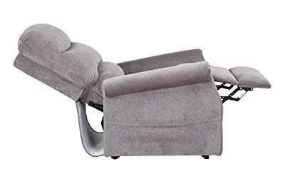 Divano Roma Furniture - Classic Plush Power Lift Recliner Living Room Chair (Grey)