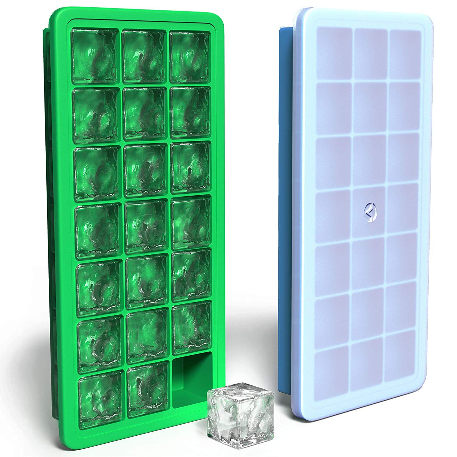3 x CLEAR PLASTIC ICE CUBE MAKER TRAY ICE TRAY TOTAL 42 CUBES PACK OF 3